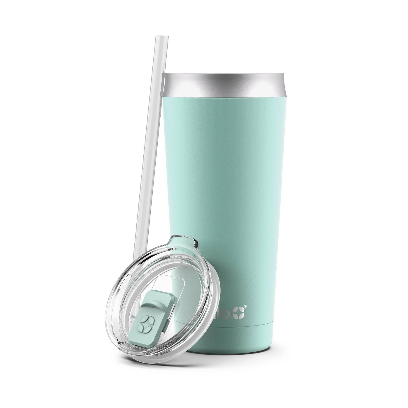 Aqua tumblr with clear lid and transparent gray straw