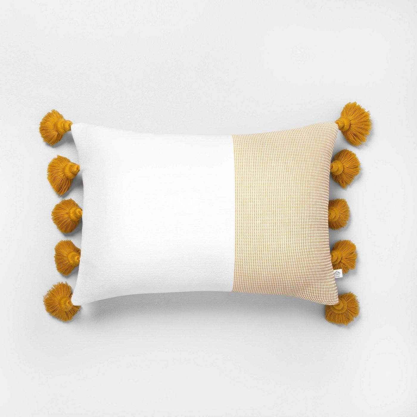 Mustard and white lumber pillow