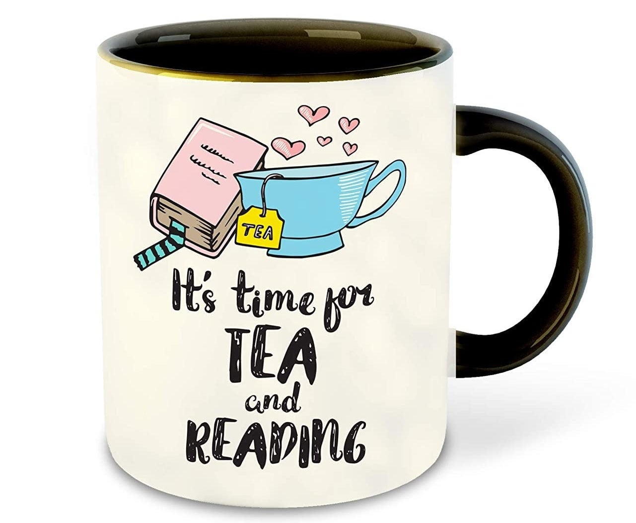 """A mug that says """"It's time for tea and reading"""" on its side."""