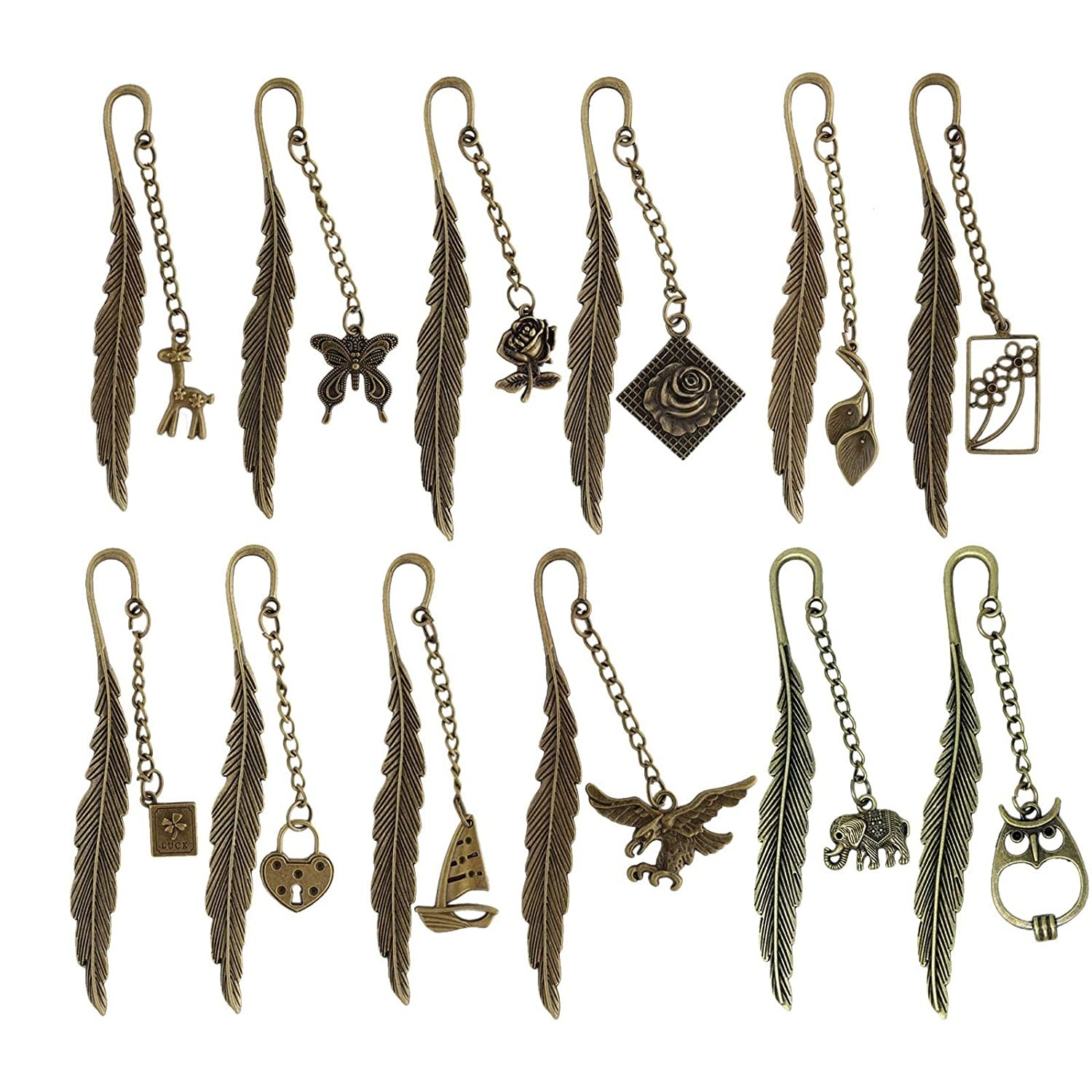 Multiple metal feather bookmarks in different designs.