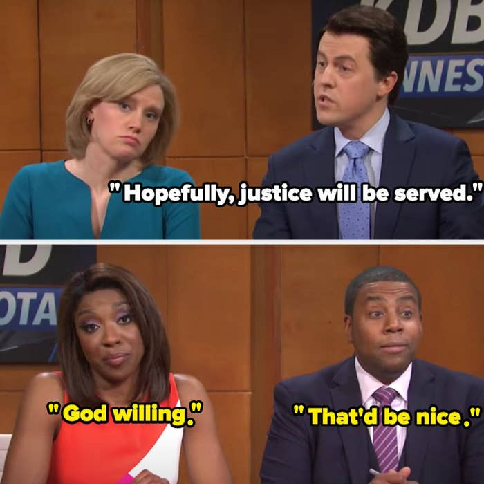 """White anchor says """"Hopefully, justice will be served"""" and Black anchors say """"God willing"""" and """"That'd be nice"""""""