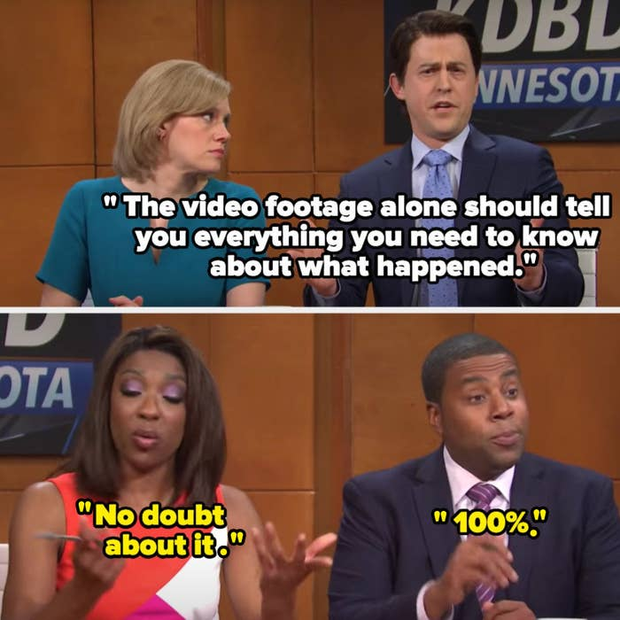 """White anchor says """"The video footage alone should tell you everything you need to know about what happened"""" and Black anchors say """"No doubt about it"""" and """"100%"""""""