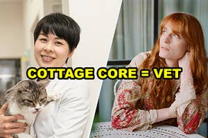 A veterinarian beside florence welch in a cottage core aesthetic