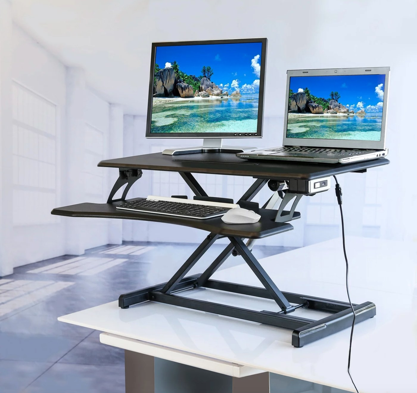 The electric standing desk converter