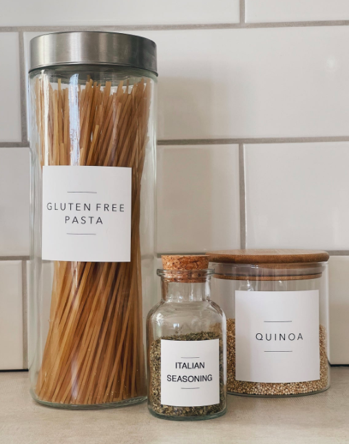 A trio of glass pantry jars with minimalist labels