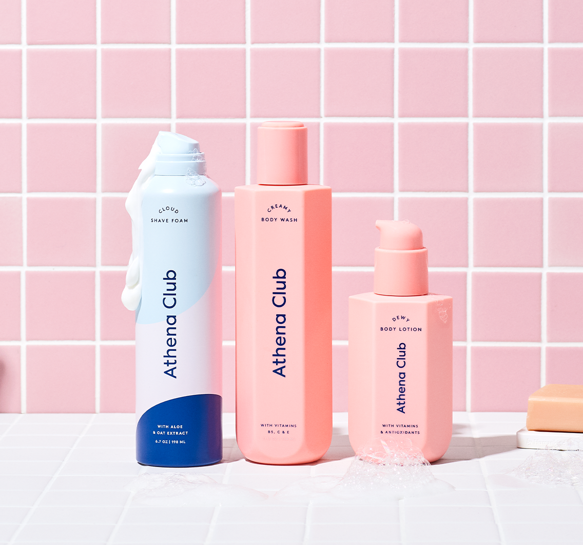 the three bottles of different body products