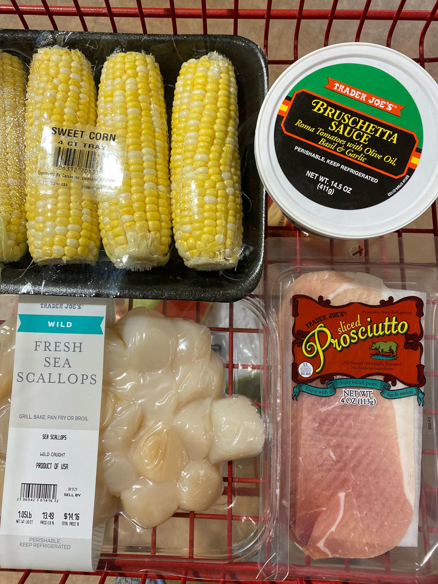 Fresh sea scallops+ sliced Prosciutto + sweet corn + Bruschetta sauce