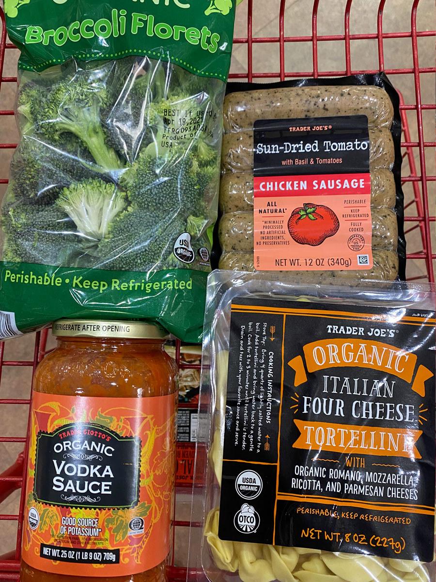 Italian four cheese tortellini + vodka sauce + sun-dried tomato chicken sausage + broccoli florets