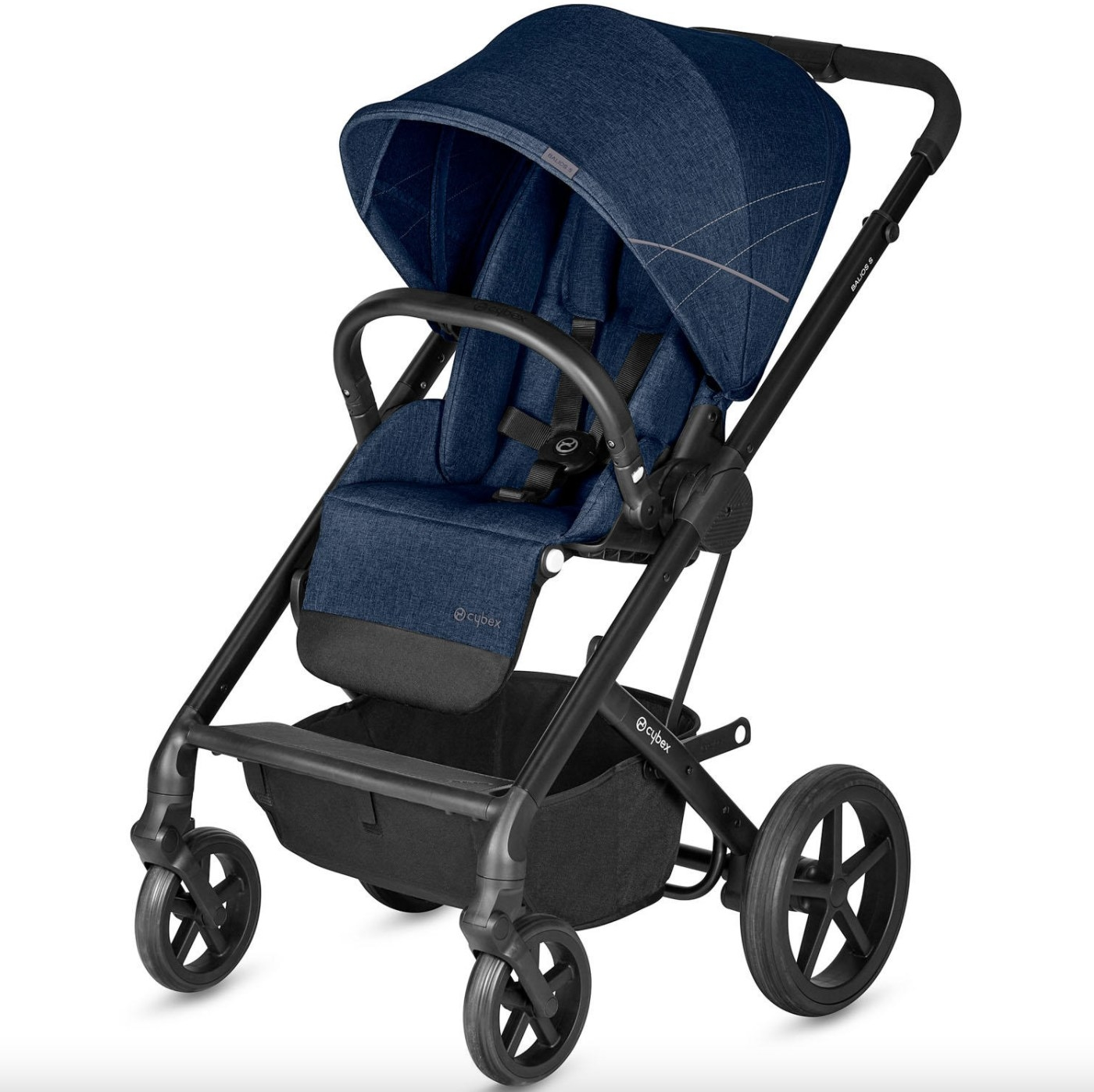 The baby stroller in denim blue with black hardware and wheels