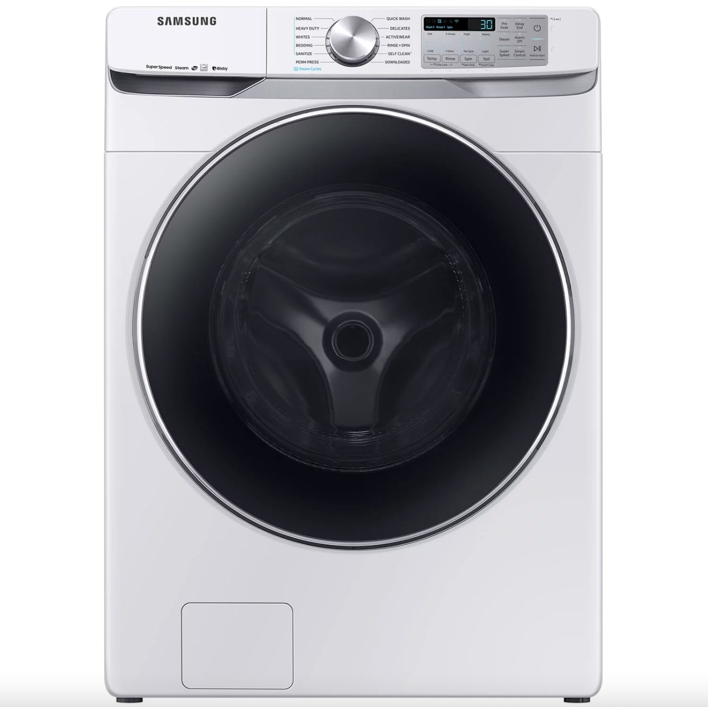 The front-load washing machine with super speed in white