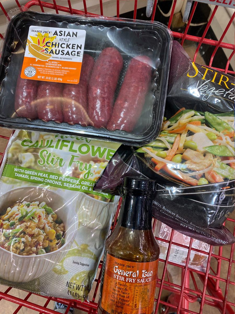 Asian-style chicken sausage + General Tsao stir-fry sauce + cauliflower stir fry + stir-fry vegetables