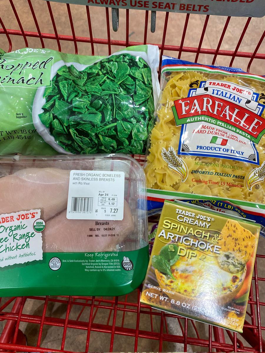 Chicken breast + chopped spinach + creamy spinach & artichoke dip + pasta