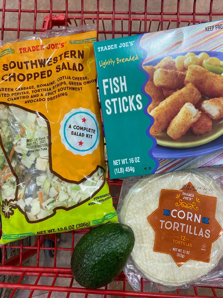 Lightly breaded fish sticks + corn tortillas + Southwestern chopped salad + avocado