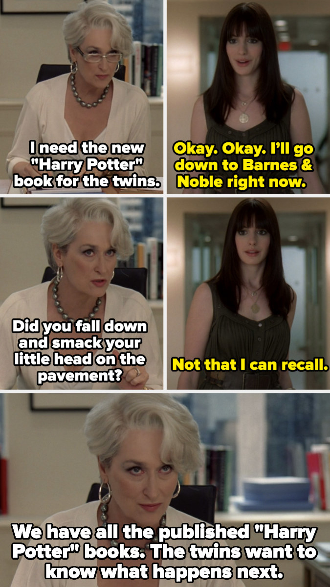 """Meryl Streep making Anne Hathaway find unpublished """"Harry Potter"""" books for her daughters in """"The Devil Wears Prada"""""""