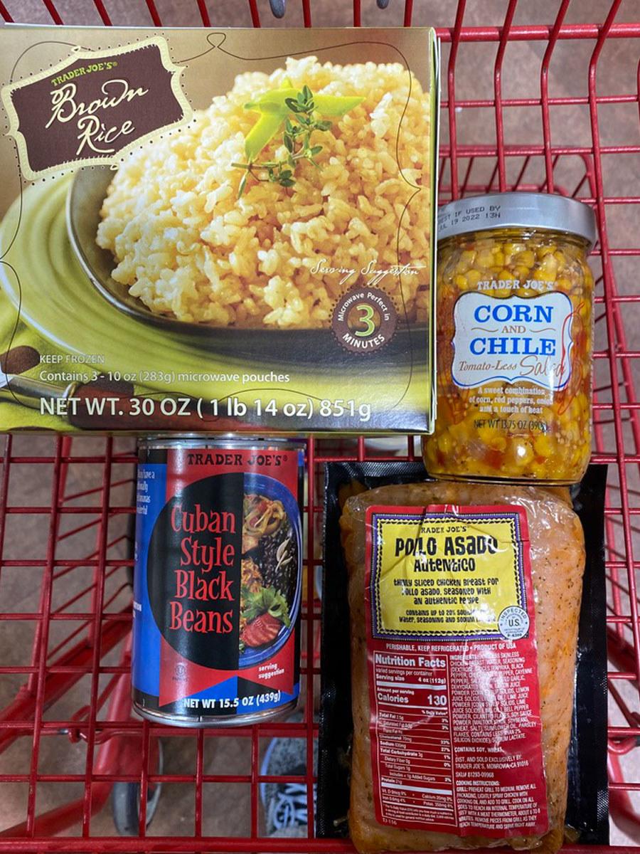 Brown rice + corn and chile tomato-less salsa + pollo asado autentico + Cuban-style black beans