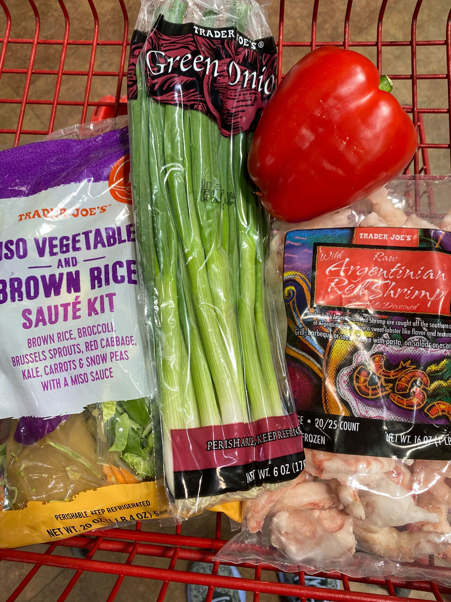 Miso vegetable and brown rice sauté kit + frozen shrimp + scallions + bell pepper