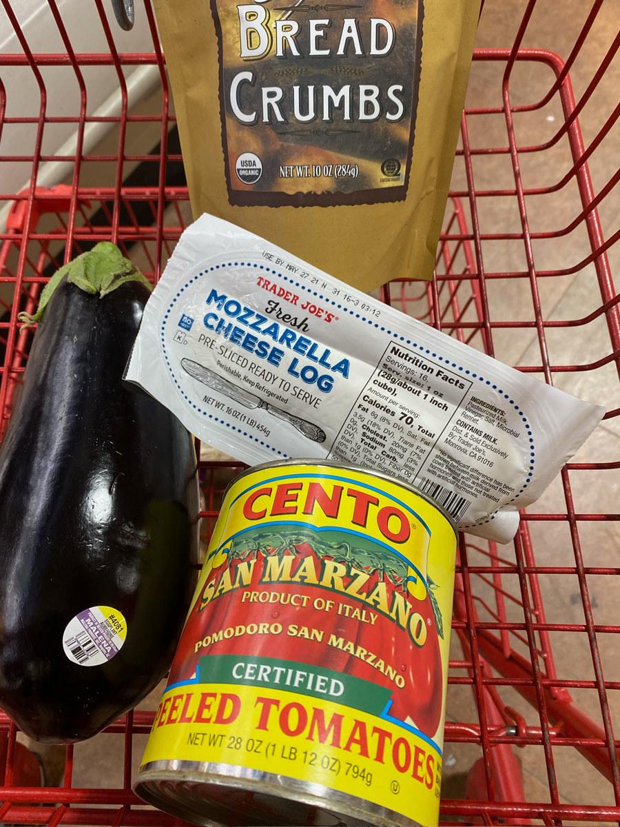 Eggplant + San Marzano peeled tomatoes + Italian breadcrumbs + Mozzarella cheese log