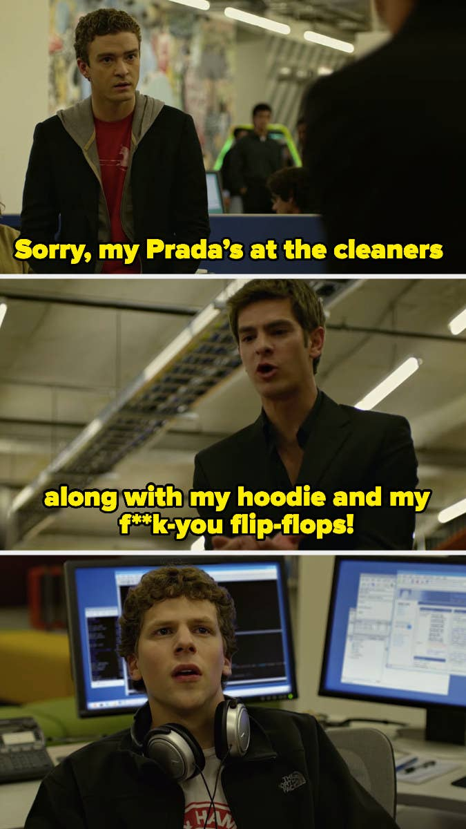 """Andrew Garfield blows up at Jesse Eisenberg in an office in """"The Social Network"""""""