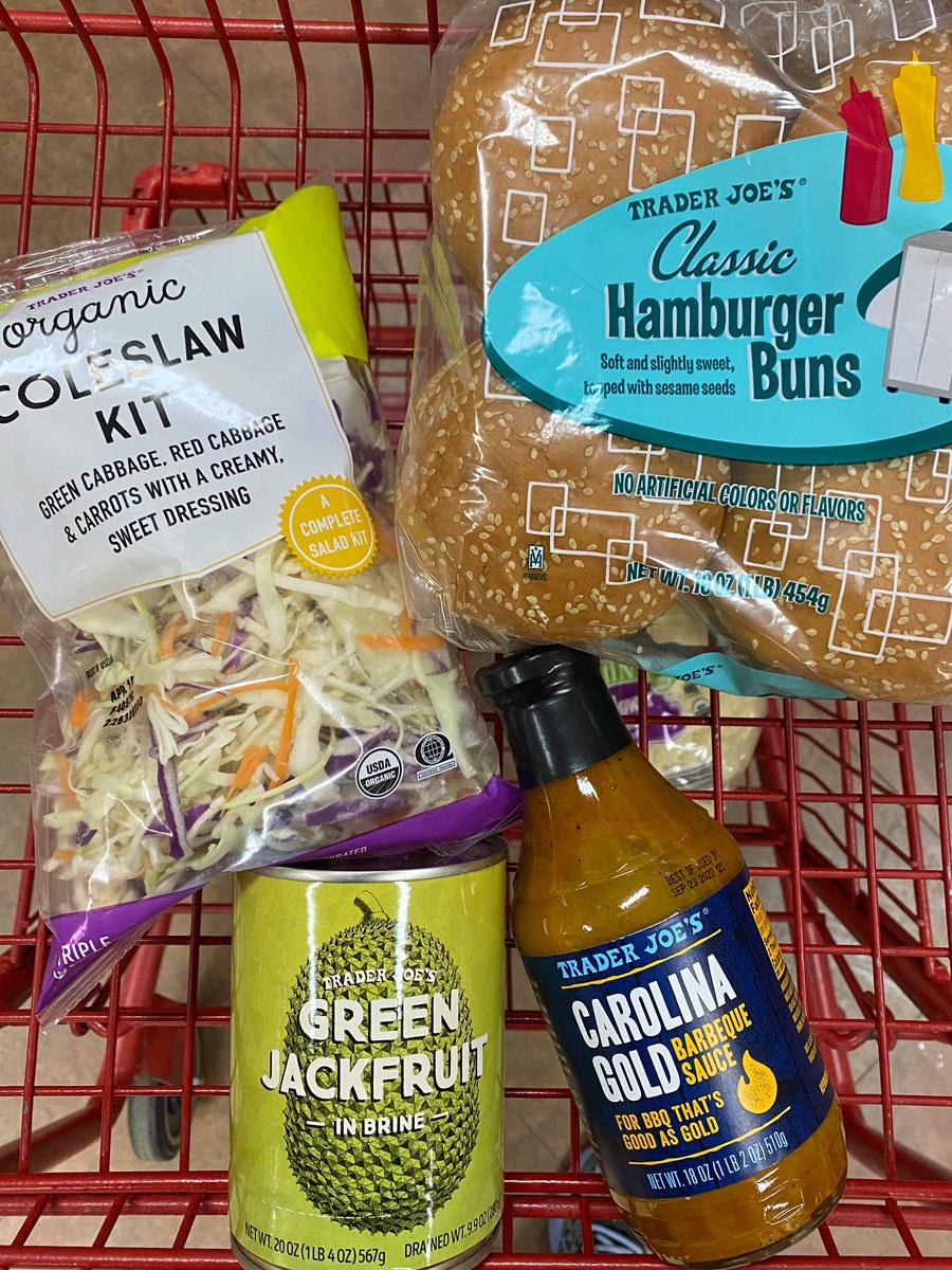 Green jackfruit in brine + Carolina gold barbecue sauce + coleslaw kit + hamburger buns