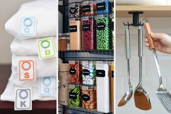 Snap-on linen labels, pantry storage containers, and a swiveling utensil rack