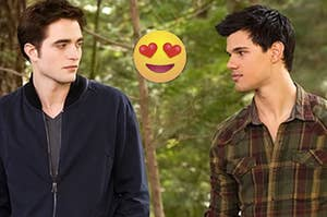 "Robert Pattinson as Edward Cullen and Taylor Lautner as Jacob Black in the movie ""The Twilight Saga: Breaking Dawn Part 2."""