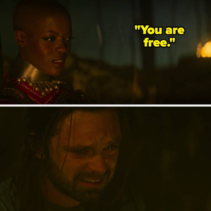 Ayo telling Bucky that he is free now