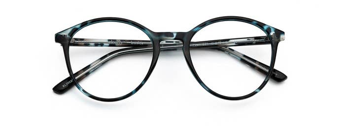 A pair of glasses on a plain background