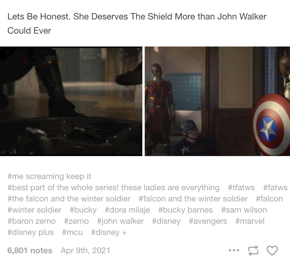 """A post saying """"let's be honest, she deserves the shield more than john walker could ever"""" with a gif of a member of the dora milaje holding the shield"""