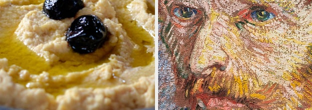 Side-by-side images of hummus and Vincent van Gogh