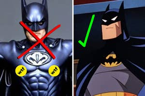 a weird live action batman with nipples on the costumes next to a cool animated batman