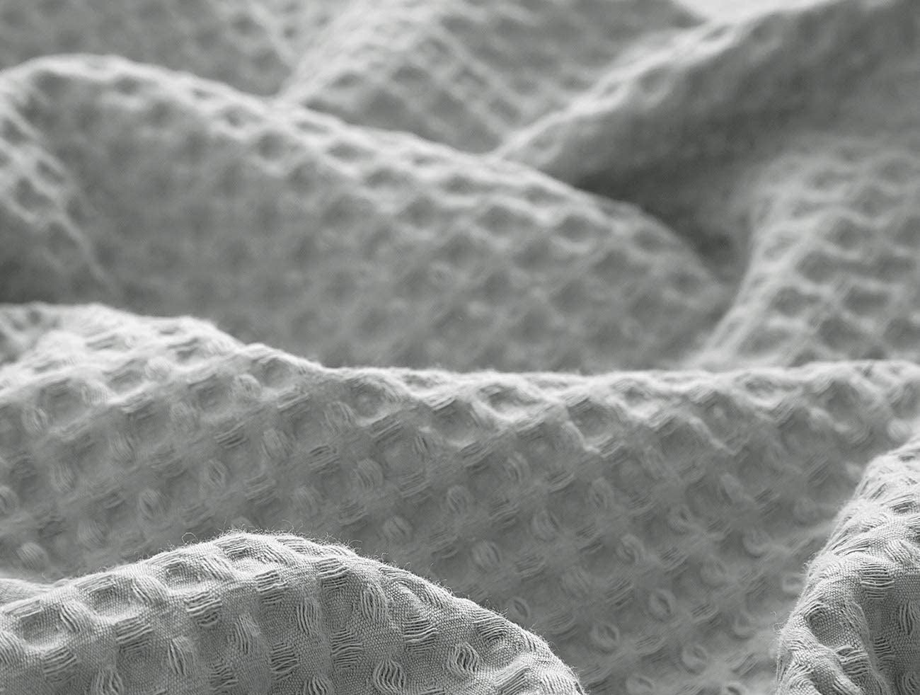 Closeup of the waffle weave texture of the blanket
