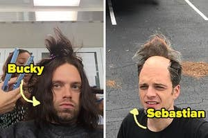 Side by side photos of Sebastian Stan with long hair and a bald wig cap