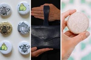 Six handmade pins, a tiny wristlet, and a solid shampoo bar