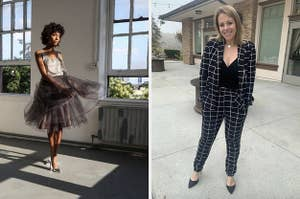 models in skirt and suit
