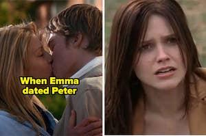 "Emma dating Peter on ""Degrassi"" alongside Brooke making shocked face on ""One Tree Hill"""