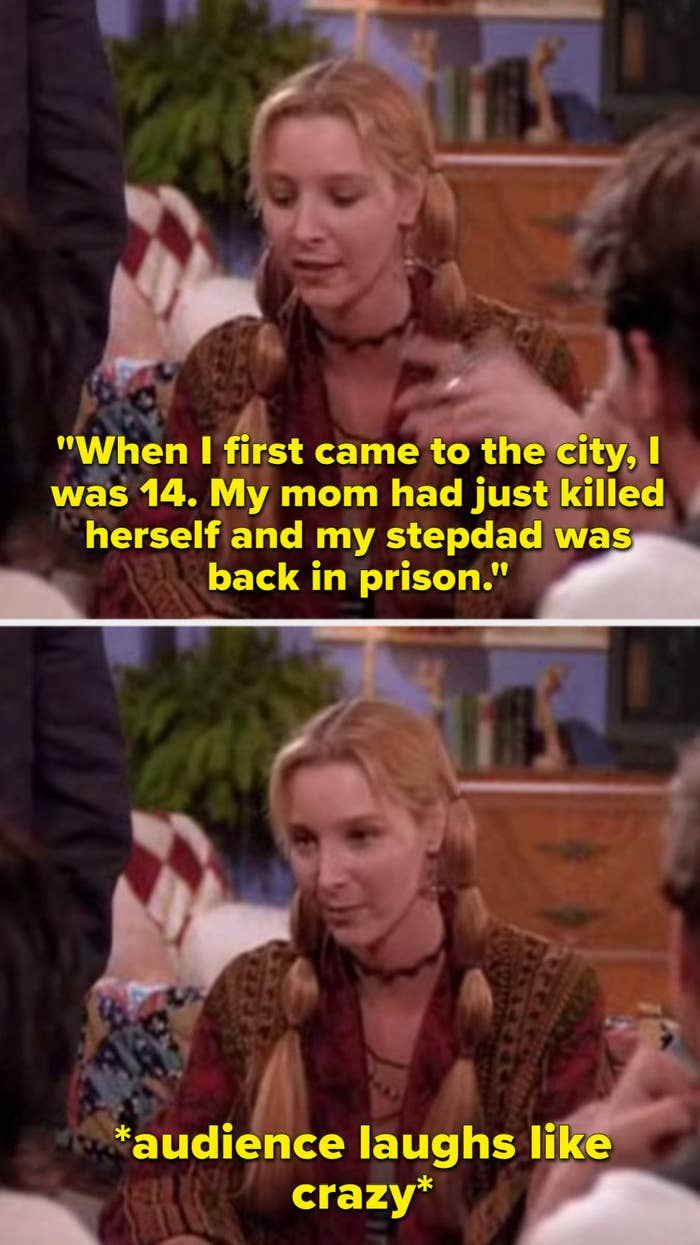 """Phoebe saying """"When I first came to the city, I was 14. My mom had just killed herself and my stepdad was back in prison"""" and the audience laughs like crazy"""
