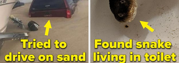 A car sinks into sand on a beach and the text: tried to drive on sand