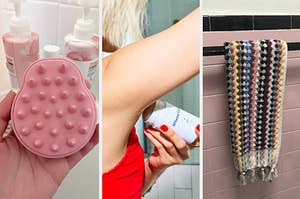 three panels showing a hand holding a scalp scrubber, a model applying deodorant, and a multicolored woven hand towel on a towel rack