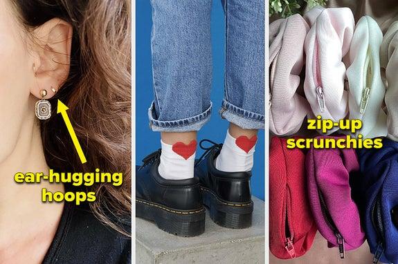 ear-hugging hoops, heart socks, zip-up scrunchies