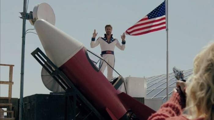 Edgar poses on rocket