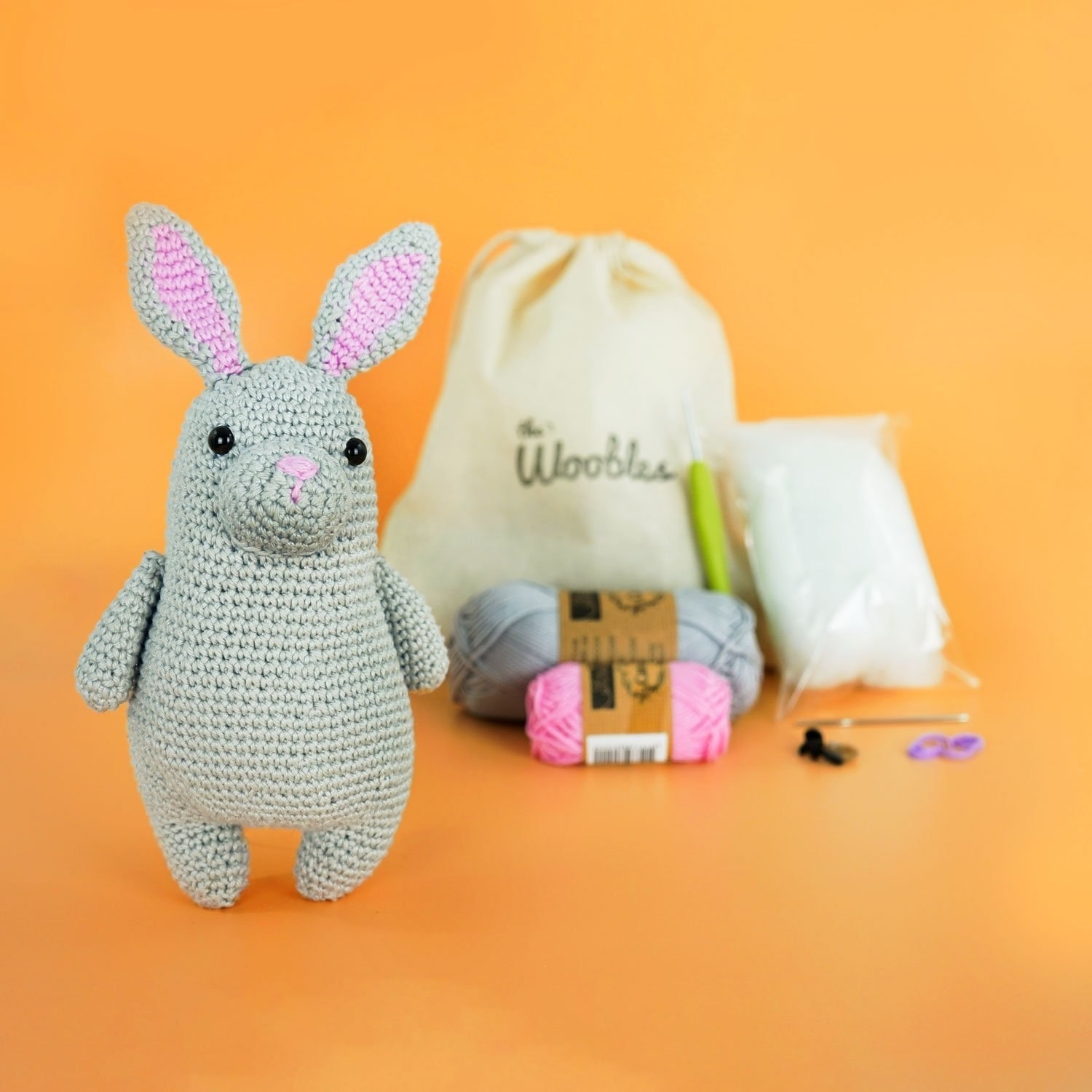 Crochet kit with knitted bunny