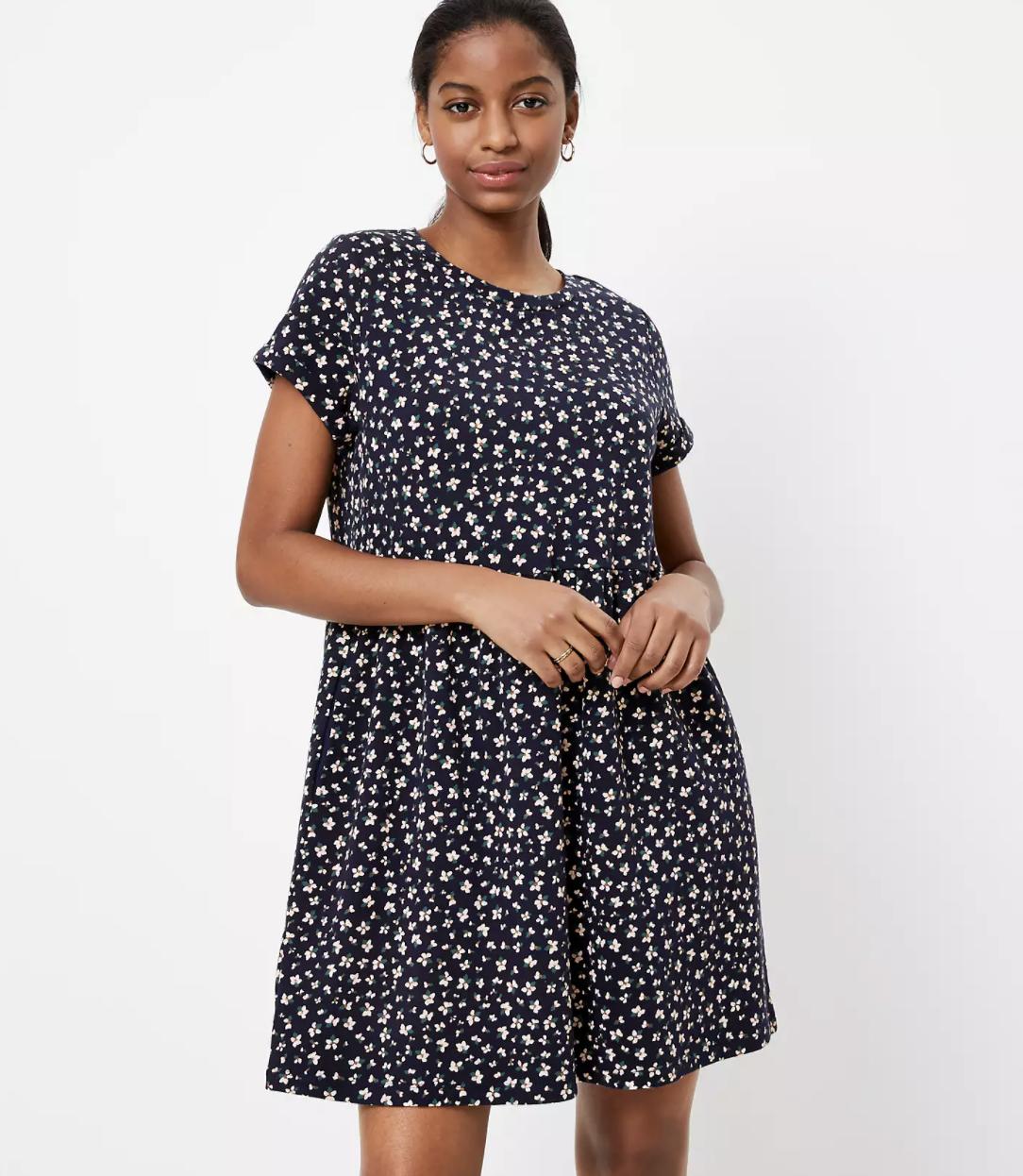 Model wearing Loft dress