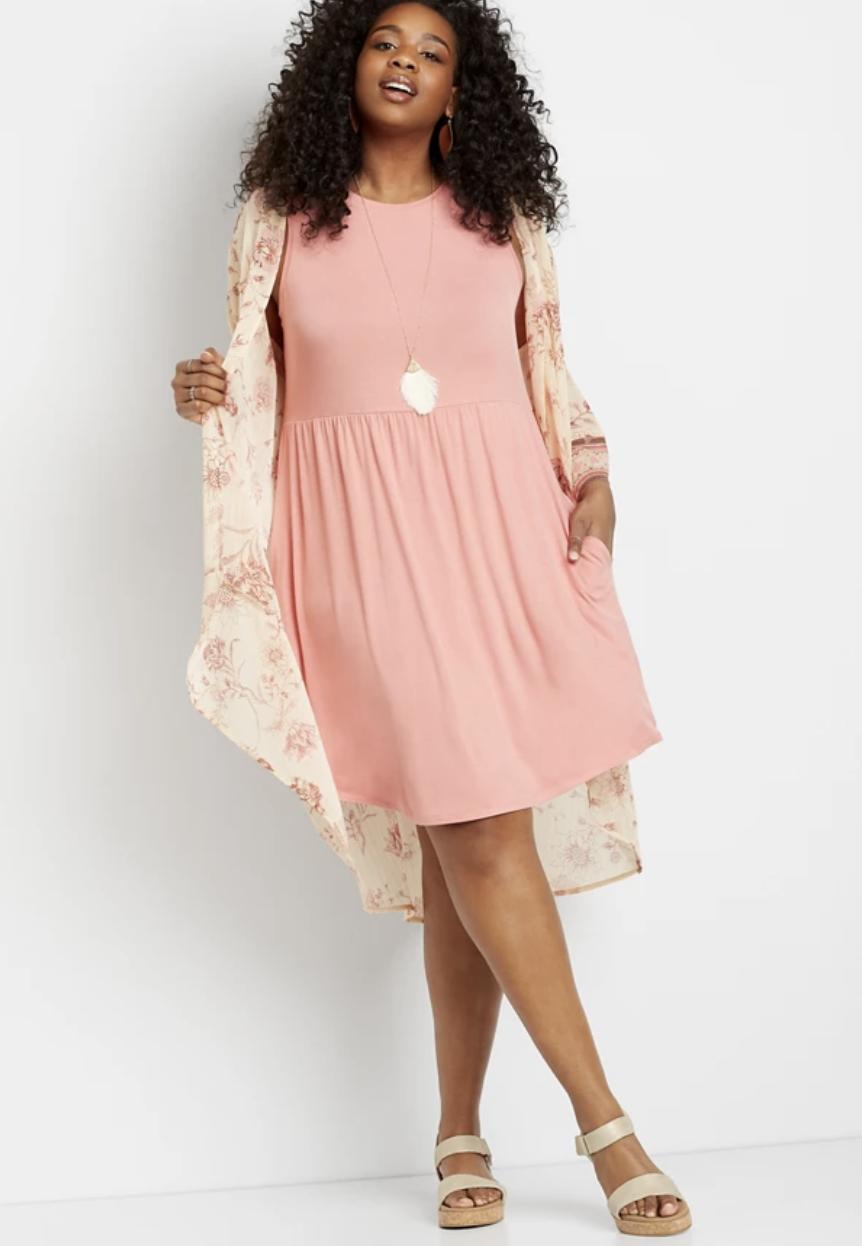 Model wearing Pink Empire Waist Pocket Dress