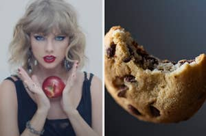 Taylor Swift is on the left holding an apple with a bitten cookie on the right