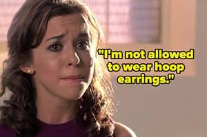 gretchen wieners crying in mean girls about how she isn't allowed to wear hoop earrings