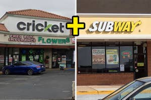 A Cricket wireless store front and a Subway sandwich store front