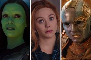 "Zoe Salanda as Gamora and Karen Gillian as Nebula in the ""Guardians of the Galaxy"" movie series and Elizabeth Olsen as Wanda Maximoff in the show ""WandaVision."""
