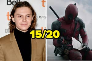 Evan Peters next to a photo of Deadpool