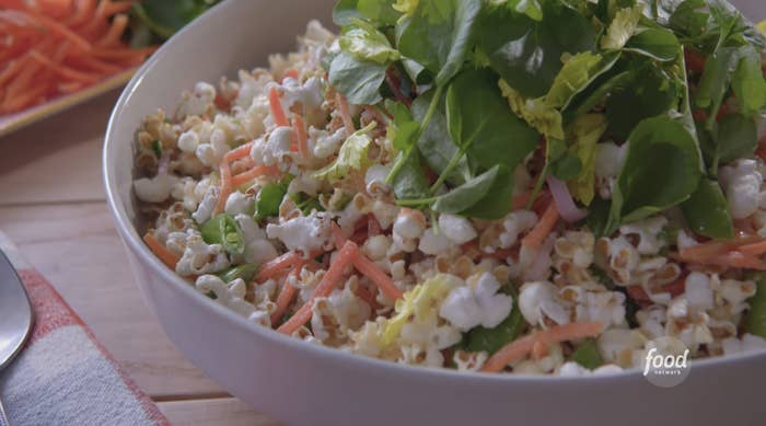 Bowl of popcorn salad