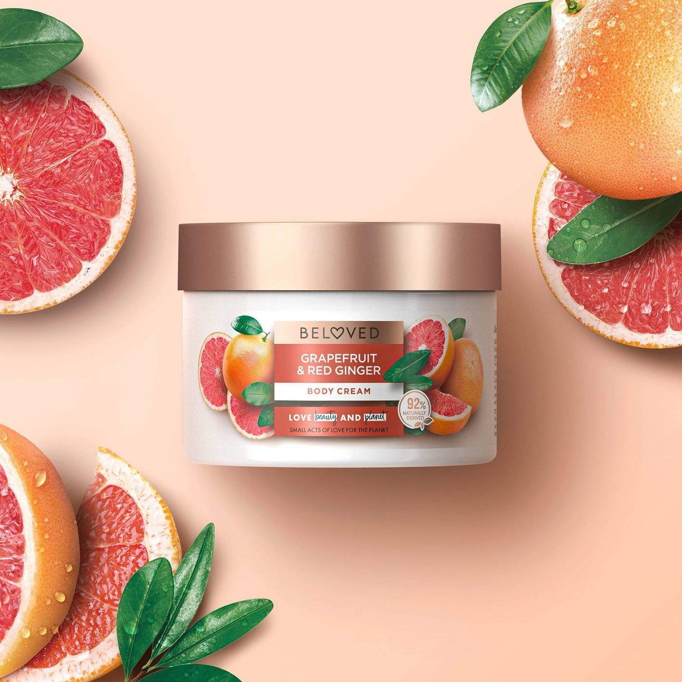 Grapefruit lotion with orange and red details